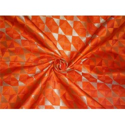 "HEAVY BROCADE ORANGE X METALLIC GOLD COLOR 44""INCH"
