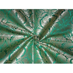 "HEAVY BROCADE GREEN X METALLIC GOLD COLOR 36""INCH"