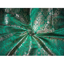 "HEAVY BROCADE PARROT GREEN X METALLIC GOLD COLOR 36""INCH"