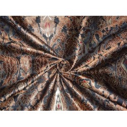 "HEAVY BROCADE JET BLACK, BROWN X METALLIC GOLD COLOR 44""INCH"