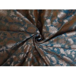 COTTON SILK BROCADE AQUA BLUE COPPER COLOR 44 INCHES