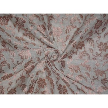 COTTON SILK FLORAL BROCADE IVORY WITH METALLIC GOLD COLOR 44 INCHES