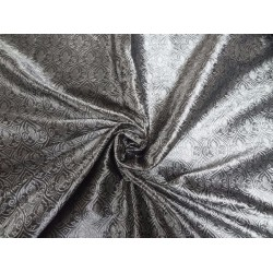 SILK BROCADE FABRIC GREY X WHITE