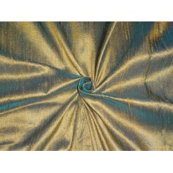 "MUSTERED GOLD WITH GREEN IRIDESCENT SILK DUPIONI 44""~WITH SLUBS"