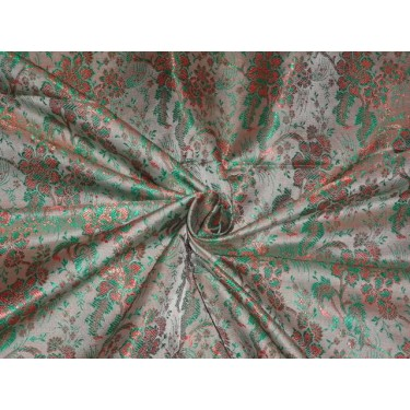 SILK BROCADE DUSTY GREY PARROT GREEN LIGHT TAN 44 INCHES