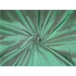 100% PURE SILK DUPIONI FABRIC GREEN GLITTER 54""