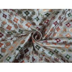HEAVY BROCADE FABRIC CREAM,GREEN,ORANGE & GOLD METALLIC GOLD