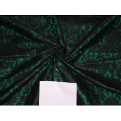 PURE SILK BROCADE FABRIC DARK GREEN WITH BLACK