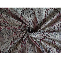 SILK BROCADE FABRIC MAROON,BLACK & METALLIC GOLD