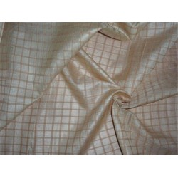 tussar silk fabric~plaids natural x light brown 44 inches wide