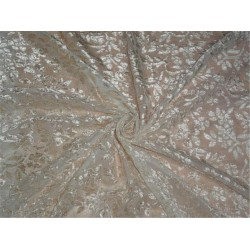 DEVORE POLYESTER VISCOSE BURNOUT BEIGE VELVET FABRIC *