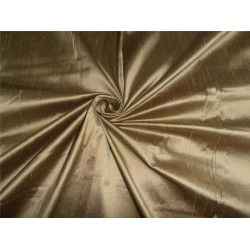 100% PURE SILK DUPIONI OLIVE GREEN X BROWN FABRIC 54""