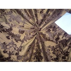 "54"" wide silk dupioni bronze x brown velvet embroidery"