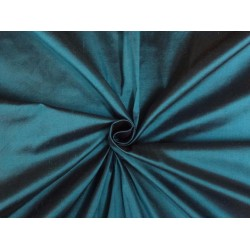 PURE SILK DUPIONI FABRIC BLUE X BLACK