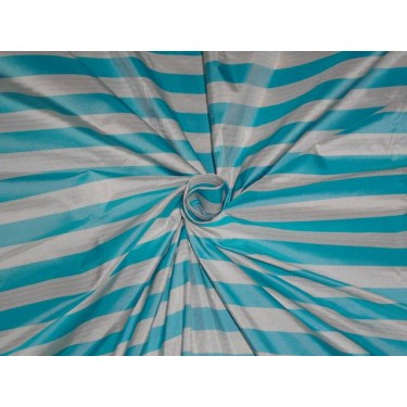 "100 % silk taffeta sky blue and white colour stripe 54"" wide sold by the yard"