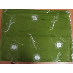 """COTTON VOILE FABRIC~EMBROIDERY-5 YARDS-54""""GREEN WIH METALLIC SILVER"""