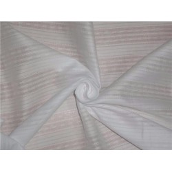 WHITE COTTON ORGANDY FABRIC LENO DOBBY STRIPES DESIGN 44""