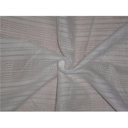 WHITE COTTON ORGANDY FABRIC LENO DOBBY STRIPES DESIGN 54""