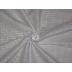 WHITE COTTON ORGANDY FABRIC LENO DOBBY CHECKS DESIGN 58""