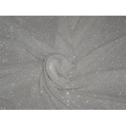 VERY HEAVILY EMBROIDERED SILK GEORGETTE WITH BEADS WHITE COLOR 1.30YARD