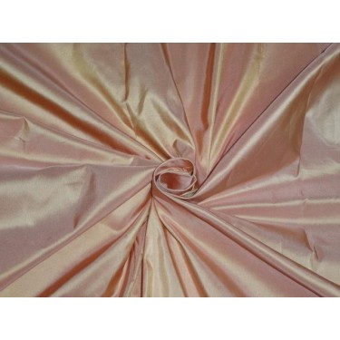 100% PURE SILK TAFFETA FABRIC IRIDESCENT CANDY PINK LIGHT GOLD