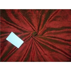100% Pure SILK CRUSHED Dupioni FABRIC RED X GREEN color 60""