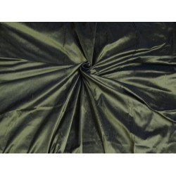 PURE SILK DUPIONI FABRIC KHAKI GREEN COLOR