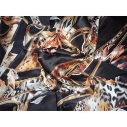 "japanese satin printed fabric 44""~dark floral"