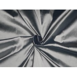 PURE SILK DUPIONI FABRIC WHITE,SLIVER X BLUE COLOR