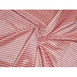 "100 % Silk taffeta red AND dark ivory  4mm stripe 54"" TAFS2 sold by the yard"