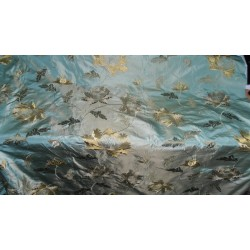 "silk taffeta fabric icy green x light gold with golden brown embroidery 54"" wide"