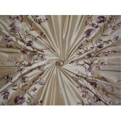 "SILK TAFFETA FABRIC GOLDEN BEIGE WITH MULTI COLOUR EMBROIDERY 54""INCH"