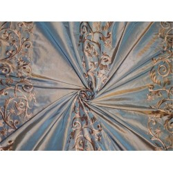 silk taffeta iridescent beige x icy blue shot  golden beige embroidery