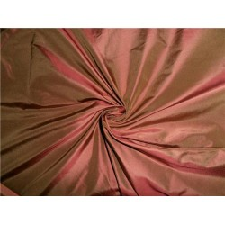 100% PURE SILK TAFFETA FABRIC IRIDESCENT PINKISH RED X LIGHT BROWN TAF245