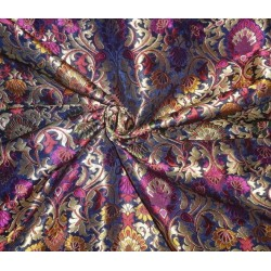 Heavy Silk Brocade Fabric black metallic gold & multi color bro539[1]