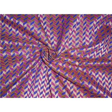 """Brocade 44""""pink royal blue and metallic gold bro537[3] BY THE YARD"""