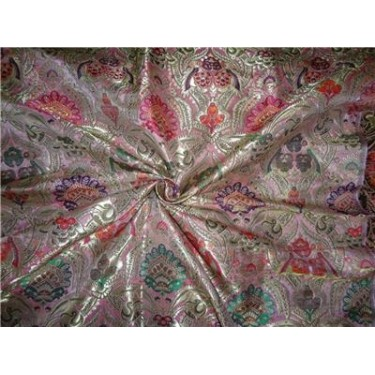 Heavy Silk Brocade Fabric shades of pink orange metallic gold & green