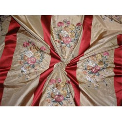 silk taffeta dark beige with red satin stripes & multi color embroidery