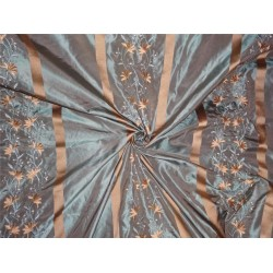 silk taffeta fabric blue x beige with gold satin stripe & embroidery 54""