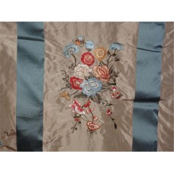 SILK TAFFETA CLOUDY BLUE X BEIGE SATIN STRIPE WITH MULTI COLOR EMBROIDERY