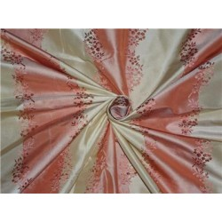 SILK TAFFETA JACQUARD~SALMON PINK X LIGHT GOLD