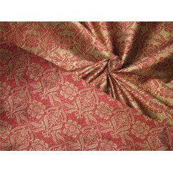"Reversible Brocade Fabric wine xgold color 44""wide bro607[2]"
