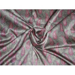 Lycra Satin print fabric pink x grey color 44'' wide