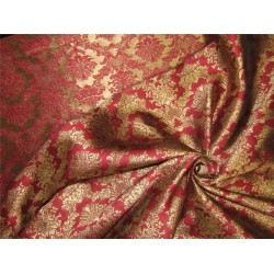 "Brocade Fabric Dark red x Gold Color 56""wide Bro653[4]"