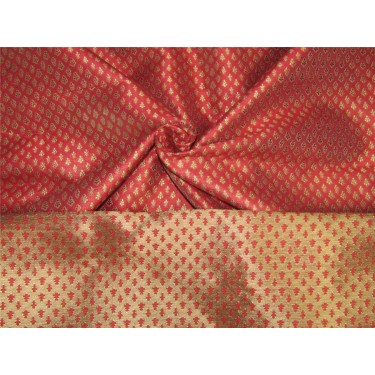 Brocade Fabric pinkish red x metallic gold color 56'' Bro653[5]