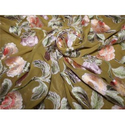 "100% silk georgette heavily embroidered khaki green /red/pink/lavender 44""wide"