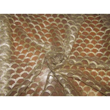Gold Net With Gold Embroidery Fabric 44'' wide