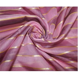 cotton chanderi fabric stripe shade of pink & metallic gold 44'' wide