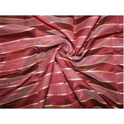 cotton chanderi fabric stripe shade of maroon & metallic gold 44'' wide