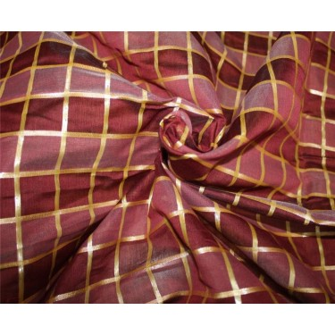 cotton chanderi fabric plaids shade of maroon & metallic gold 44'' wide